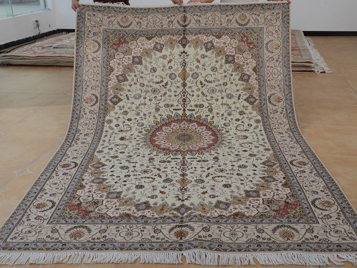 6′ x 9′ Hand-knotted Brand New Wool and Silk Sino-Persian Tabriz Oriental Area Rug 12980663