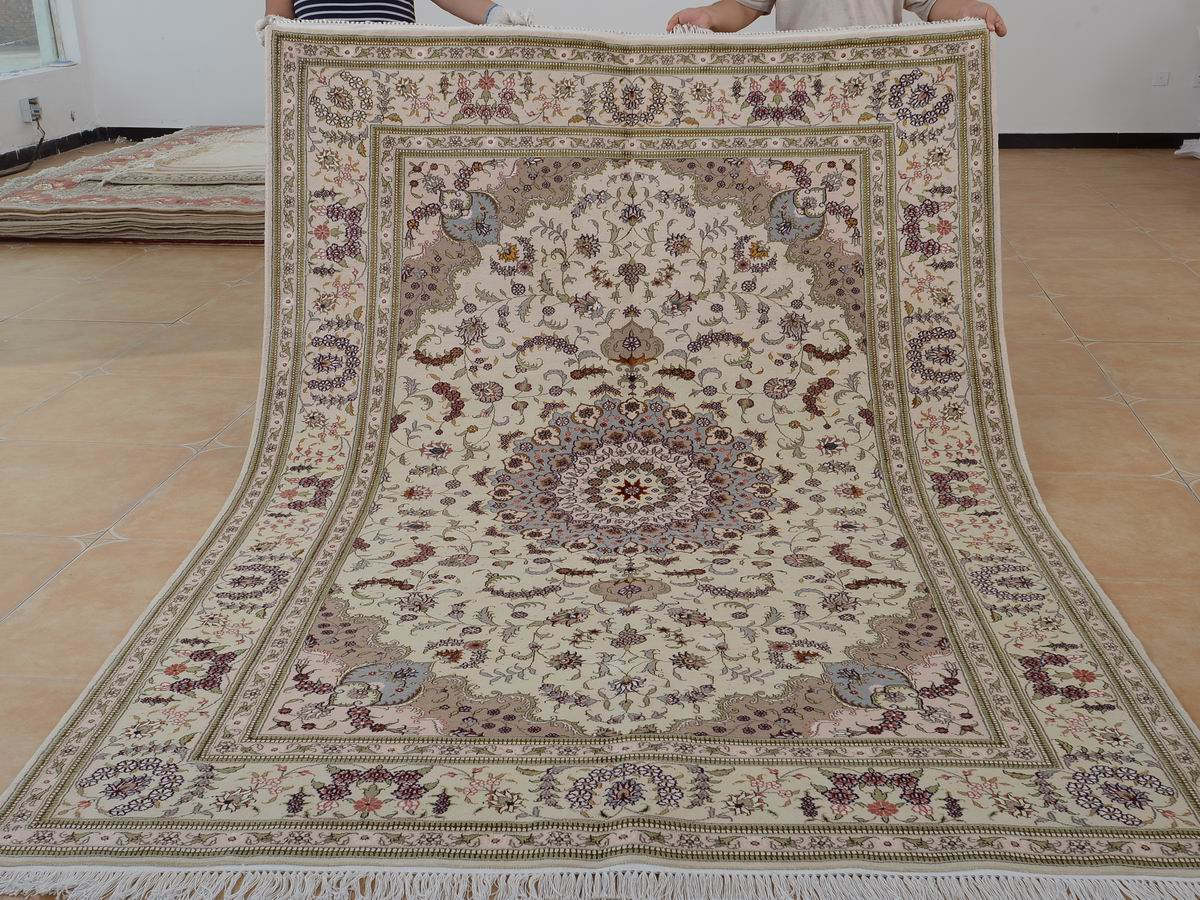 6′ x 9′ Hand-knotted Brand New Wool and Silk Sino-Persian Tabriz Oriental Area Rug 12980675