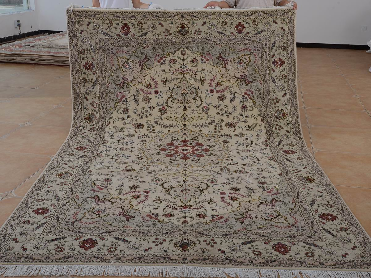 6′ x 9′ Hand-knotted Brand New Wool and Silk Sino-Persian Tabriz Oriental Area Rug 12980695