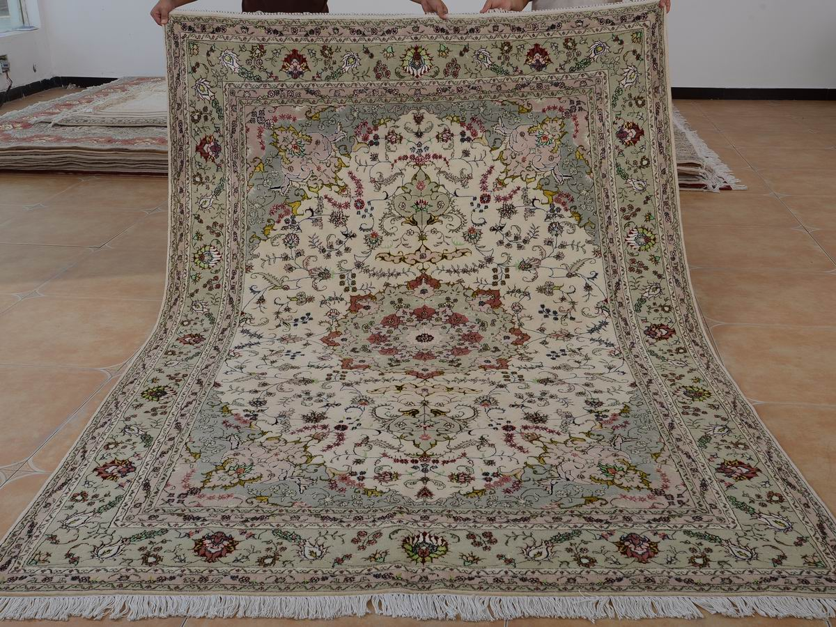 6′ x 9′ Hand-knotted Brand New Wool and Silk Sino-Persian Tabriz Oriental Area Rug 12980696
