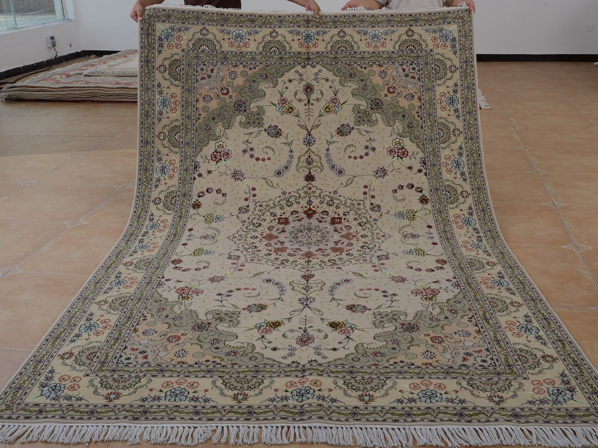 6′ x 9′ Hand-knotted Brand New Wool and Silk Sino-Persian Tabriz Oriental Area Rug 12980697