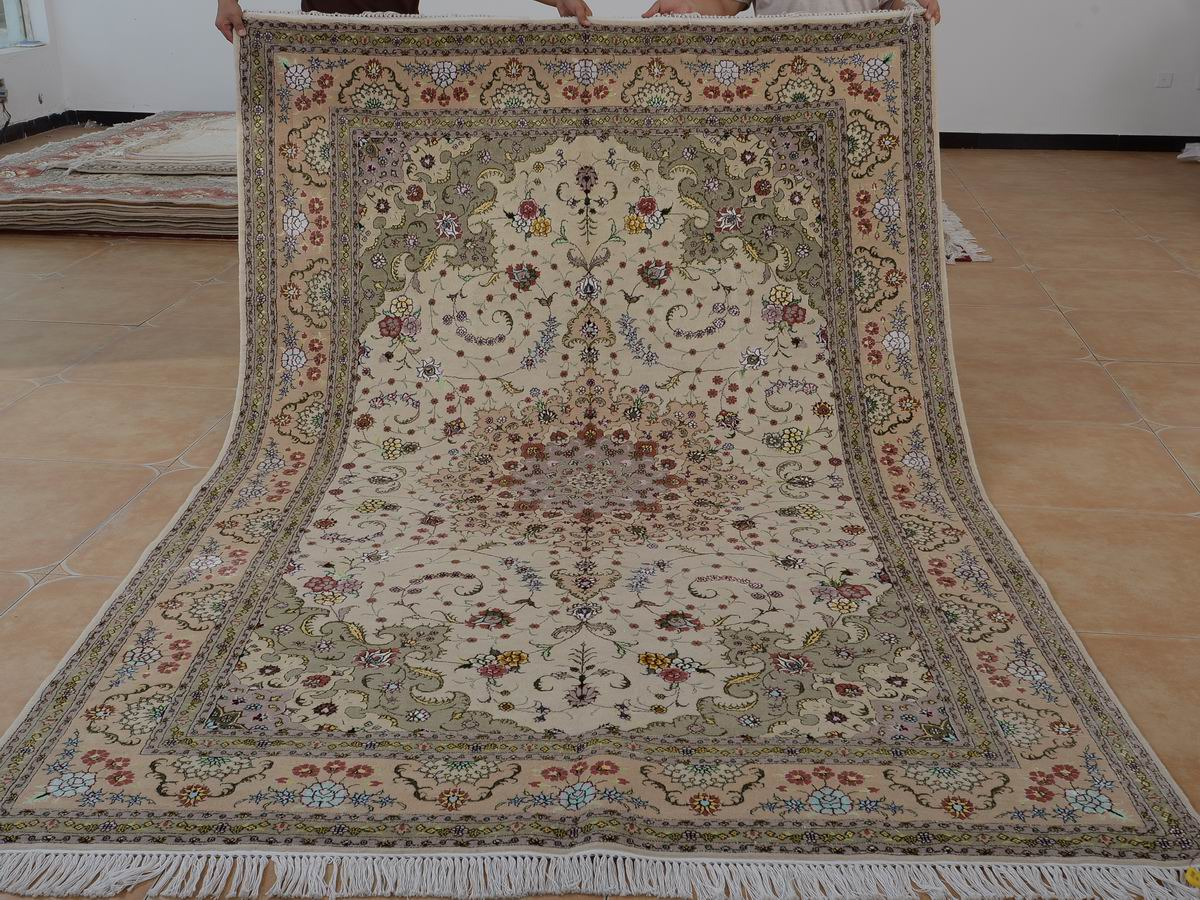 6′ x 9′ Hand-knotted Brand New Wool and Silk Sino-Persian Tabriz Oriental Area Rug 12980698