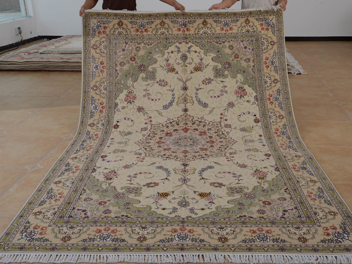 6′ x 9′ Hand-knotted Brand New Wool and Silk Sino-Persian Tabriz Oriental Area Rug 12980699