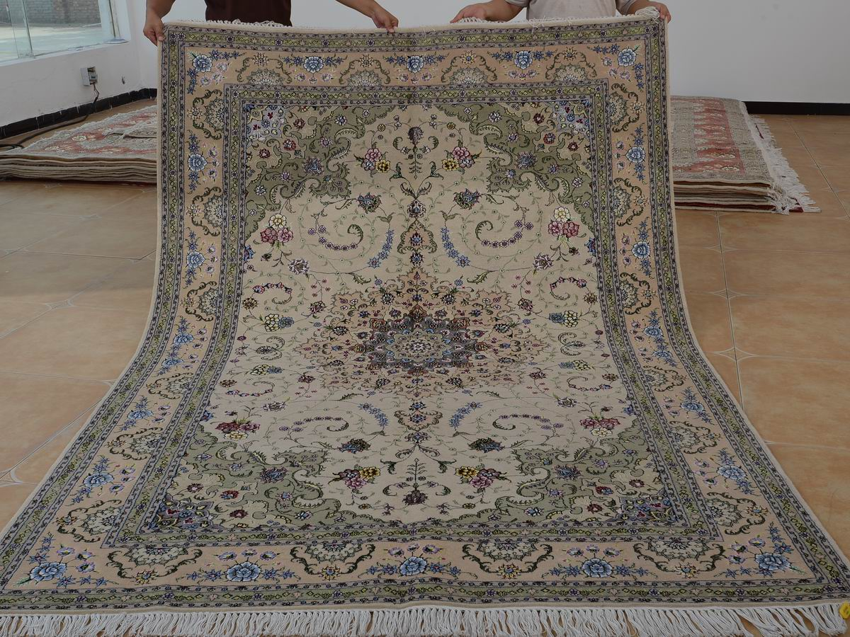 6′ x 9′ Hand-knotted Brand New Wool and Silk Sino-Persian Tabriz Oriental Area Rug 12980700