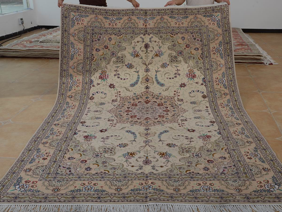 6′ x 9′ Hand-knotted Brand New Wool and Silk Sino-Persian Tabriz Oriental Area Rug 12980701