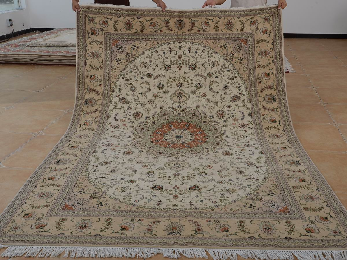 6′ x 9′ Hand-knotted Brand New Wool and Silk Sino-Persian Tabriz Oriental Area Rug 12980703