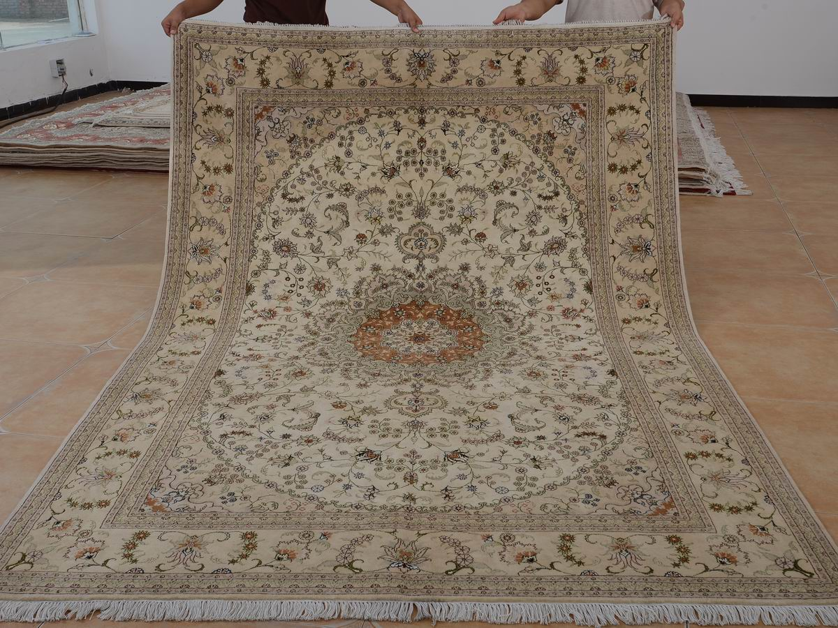 6′ x 9′ Hand-knotted Brand New Wool and Silk Sino-Persian Tabriz Oriental Area Rug 12980705