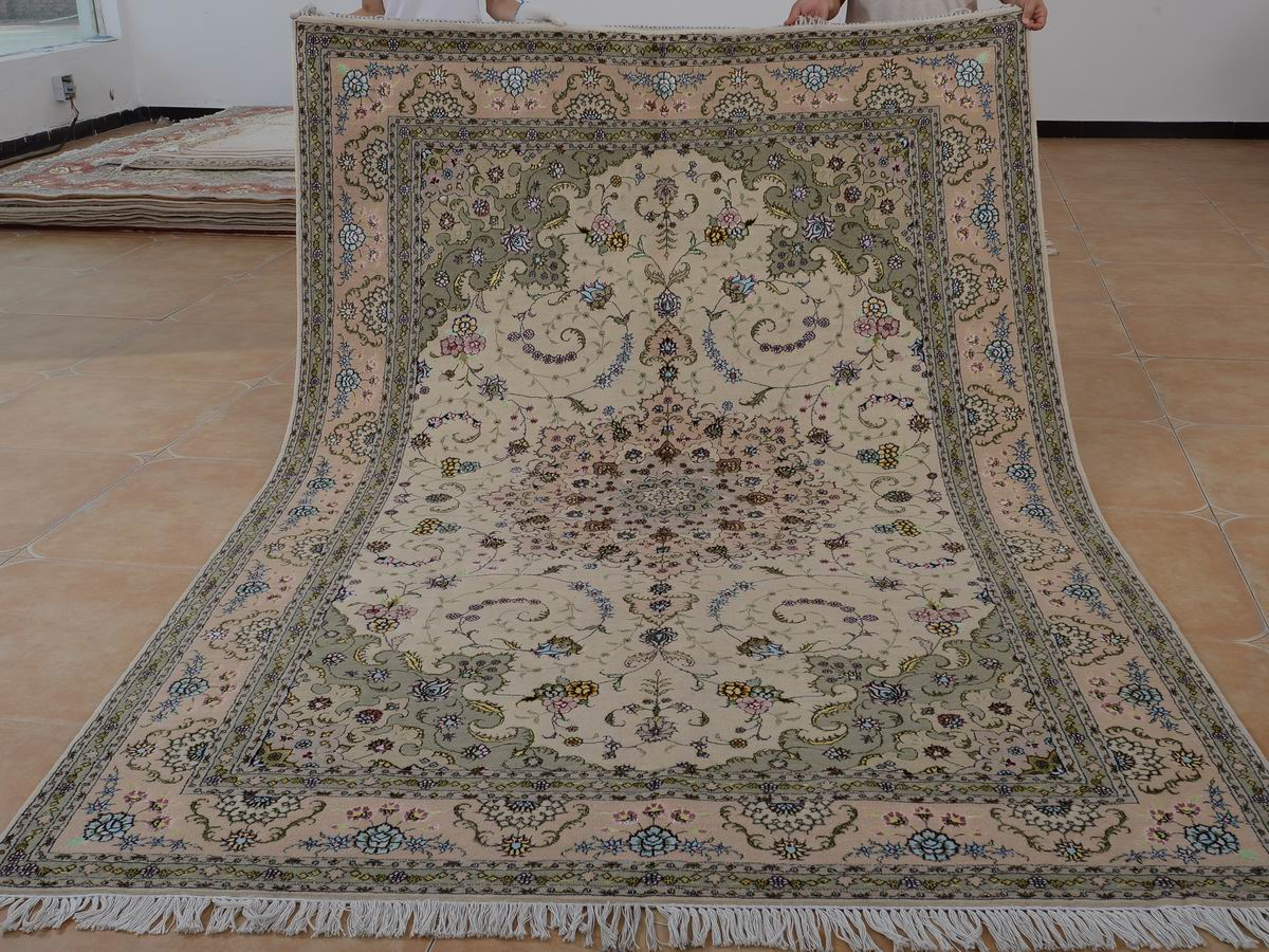 6′ x 9′ Hand-knotted Brand New Wool and Silk Sino-Persian Tabriz Oriental Area Rug 12980706