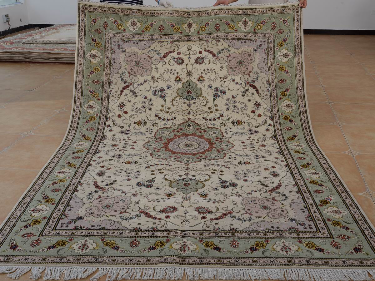 6′ x 9′ Hand-knotted Brand New Wool and Silk Sino-Persian Tabriz Oriental Area Rug 12980708