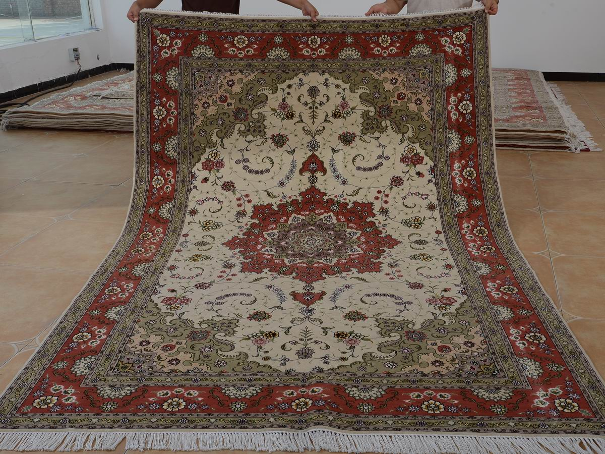 6′ x 9′ Hand-knotted Brand New Wool and Silk Sino-Persian Tabriz Oriental Area Rug 12980709