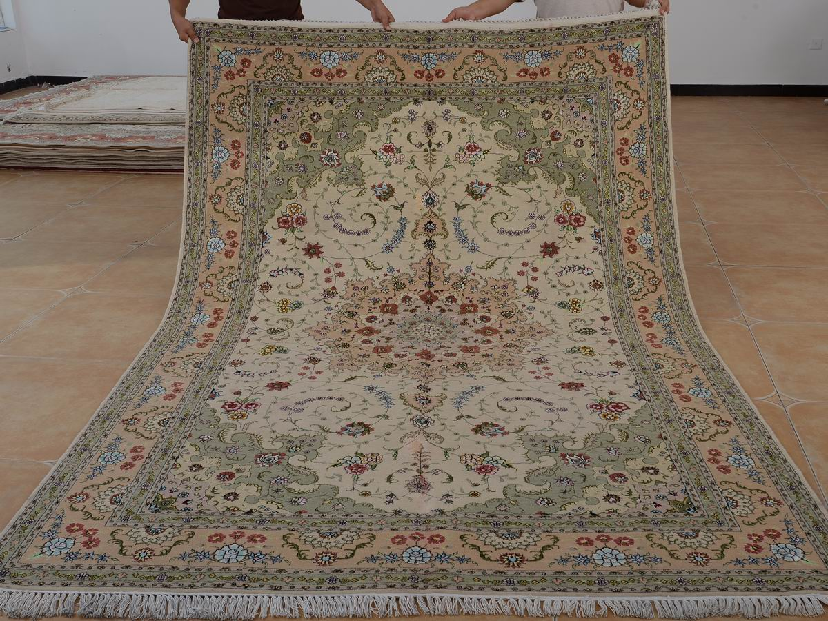 6′ x 9′ Hand-knotted Brand New Wool and Silk Sino-Persian Tabriz Oriental Area Rug 12980712