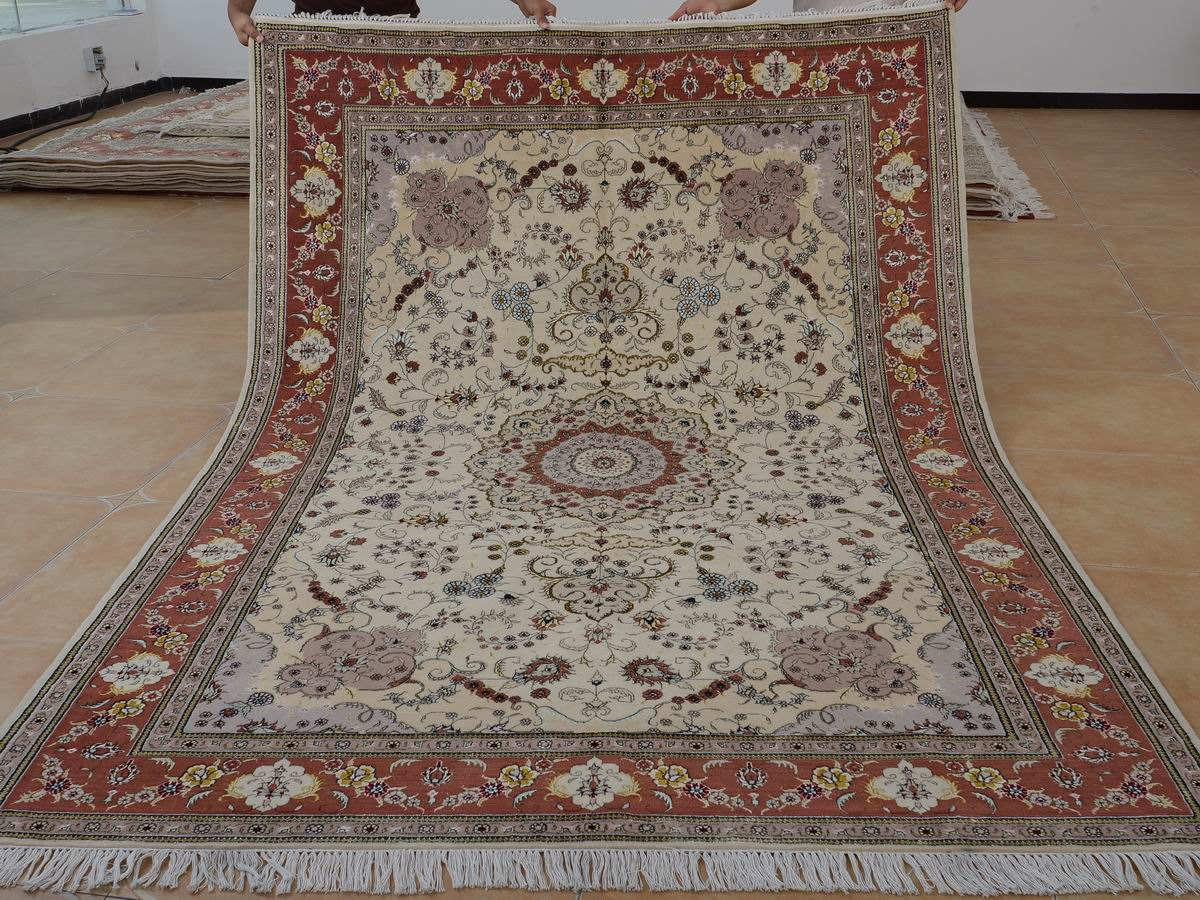 6′ x 9′ Hand-knotted Brand New Wool and Silk Sino-Persian Tabriz Oriental Area Rug 12980713
