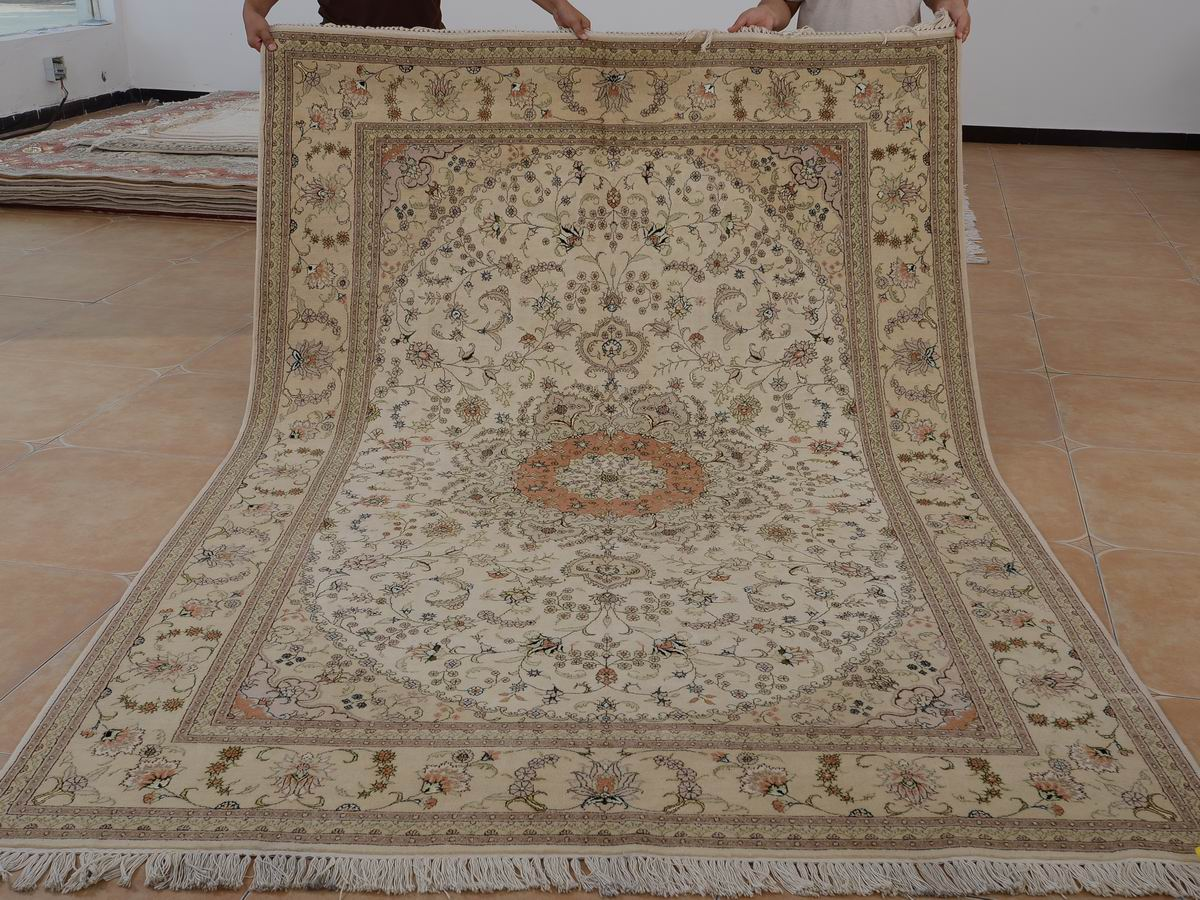 6′ x 9′ Hand-knotted Brand New Wool and Silk Sino-Persian Tabriz Oriental Area Rug 12980714