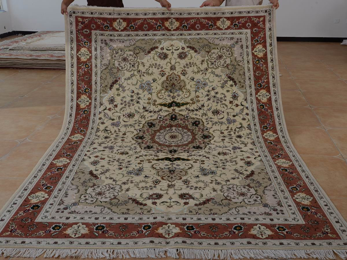 6′ x 9′ Hand-knotted Brand New Wool and Silk Sino-Persian Tabriz Oriental Area Rug 12980715