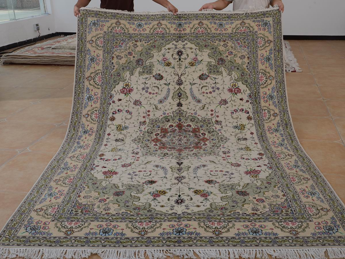 6′ x 9′ Hand-knotted Brand New Wool and Silk Sino-Persian Tabriz Oriental Area Rug 12980718