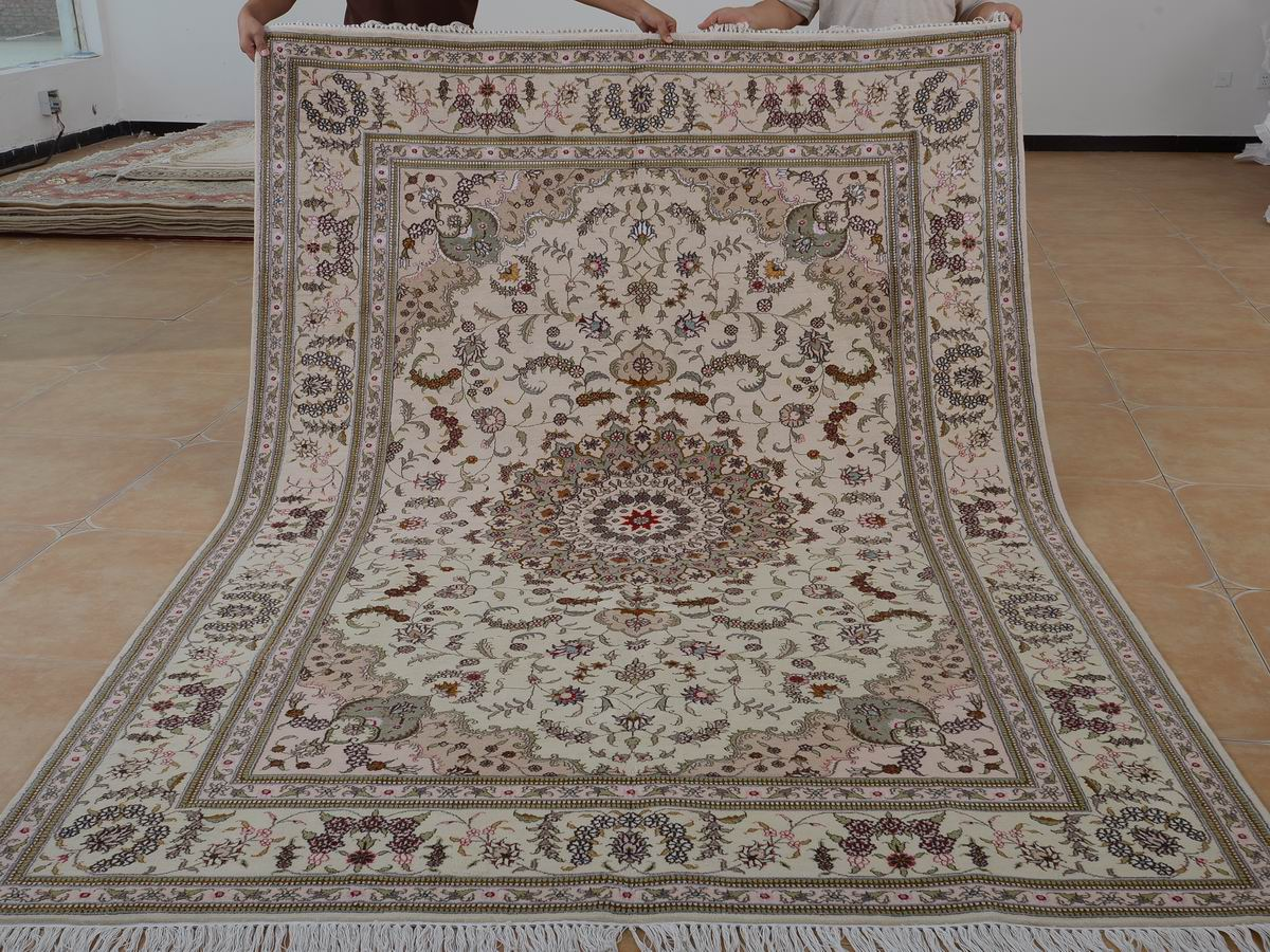 6′ x 9′ Hand-knotted Brand New Wool and Silk Sino-Persian Tabriz Oriental Area Rug 12980719