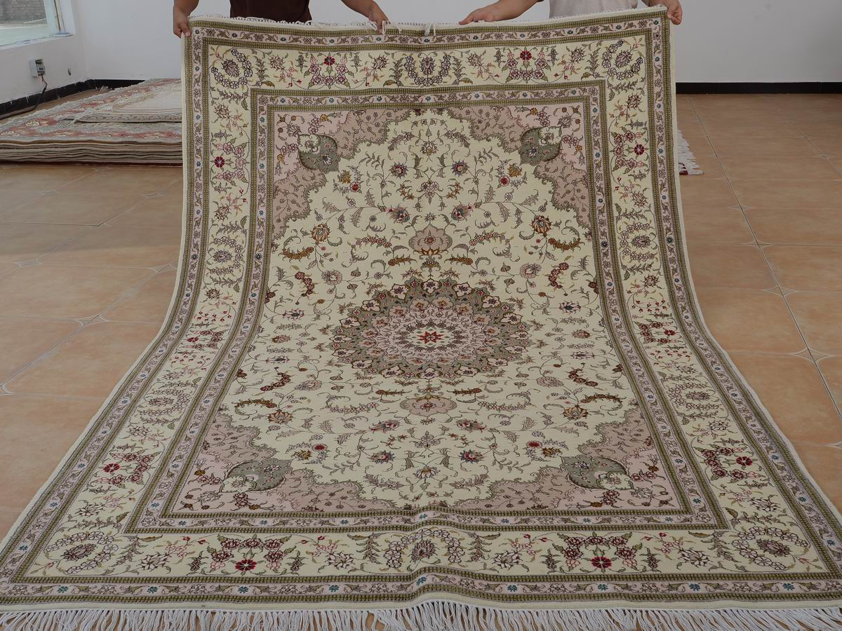 6′ x 9′ Hand-knotted Brand New Wool and Silk Sino-Persian Tabriz Oriental Area Rug 12980720