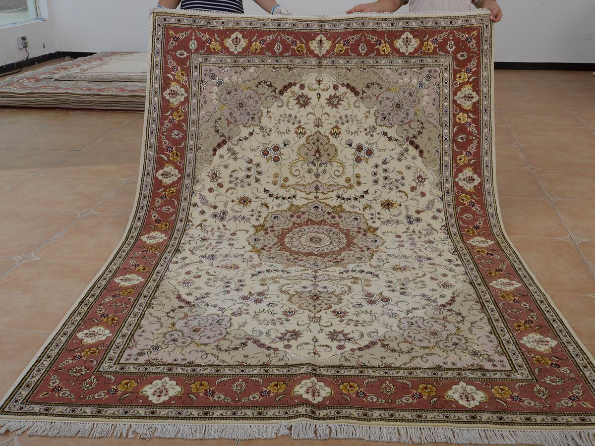 6′ x 9′ Hand-knotted Brand New Wool and Silk Sino-Persian Tabriz Oriental Area Rug 12980721