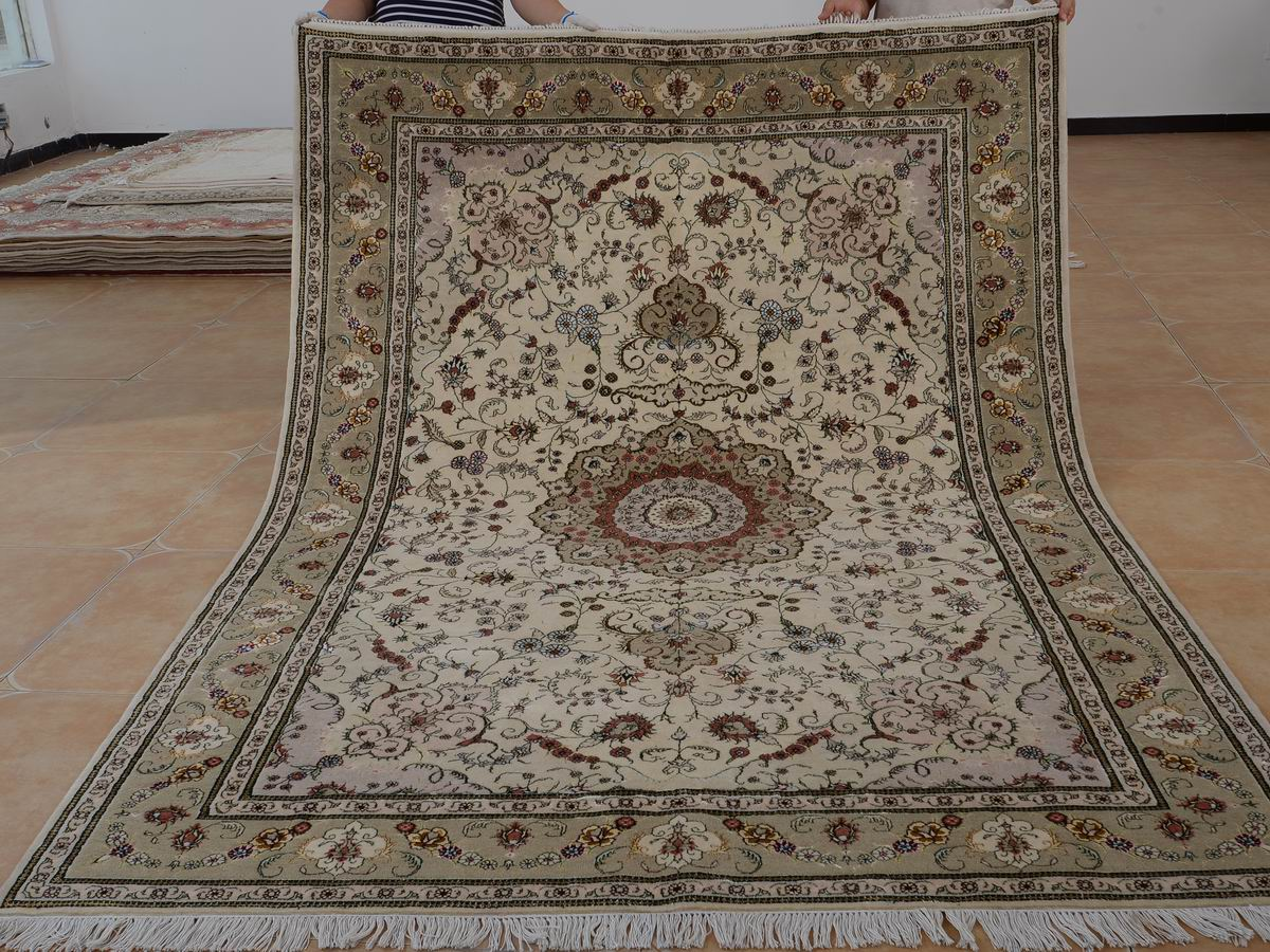 6′ x 9′ Hand-knotted Brand New Wool and Silk Sino-Persian Tabriz Oriental Area Rug 12980722