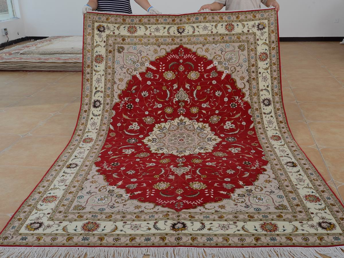 6′ x 9′ Hand-knotted Brand New Wool and Silk Sino-Persian Tabriz Oriental Area Rug 12980723