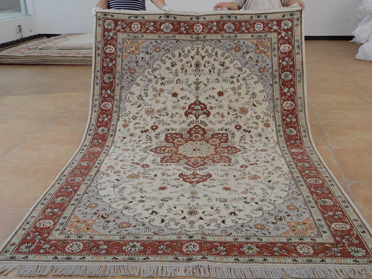 6′ x 9′ Hand-knotted Brand New Wool and Silk Sino-Persian Tabriz Oriental Area Rug 12980724