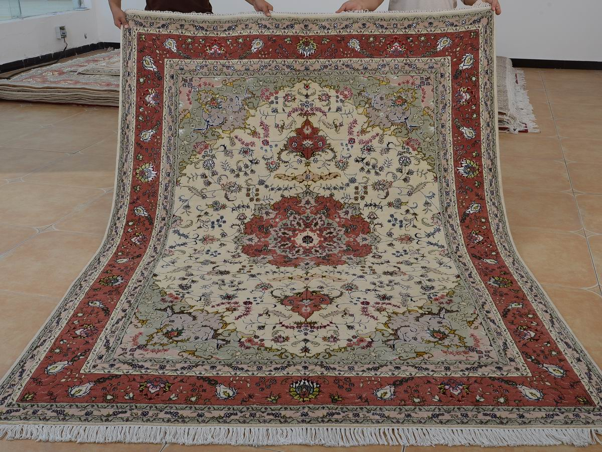 6′ x 9′ Hand-knotted Brand New Wool and Silk Sino-Persian Tabriz Oriental Area Rug 12980725