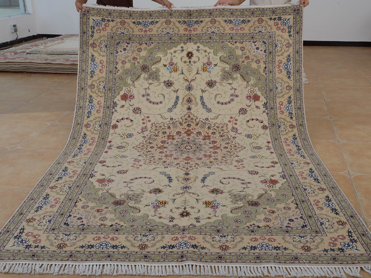 6′ x 9′ Hand-knotted Brand New Wool and Silk Sino-Persian Tabriz Oriental Area Rug 12980726