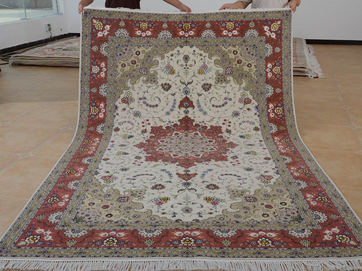 6′ x 9′ Hand-knotted Brand New Wool and Silk Sino-Persian Tabriz Oriental Area Rug 12980727