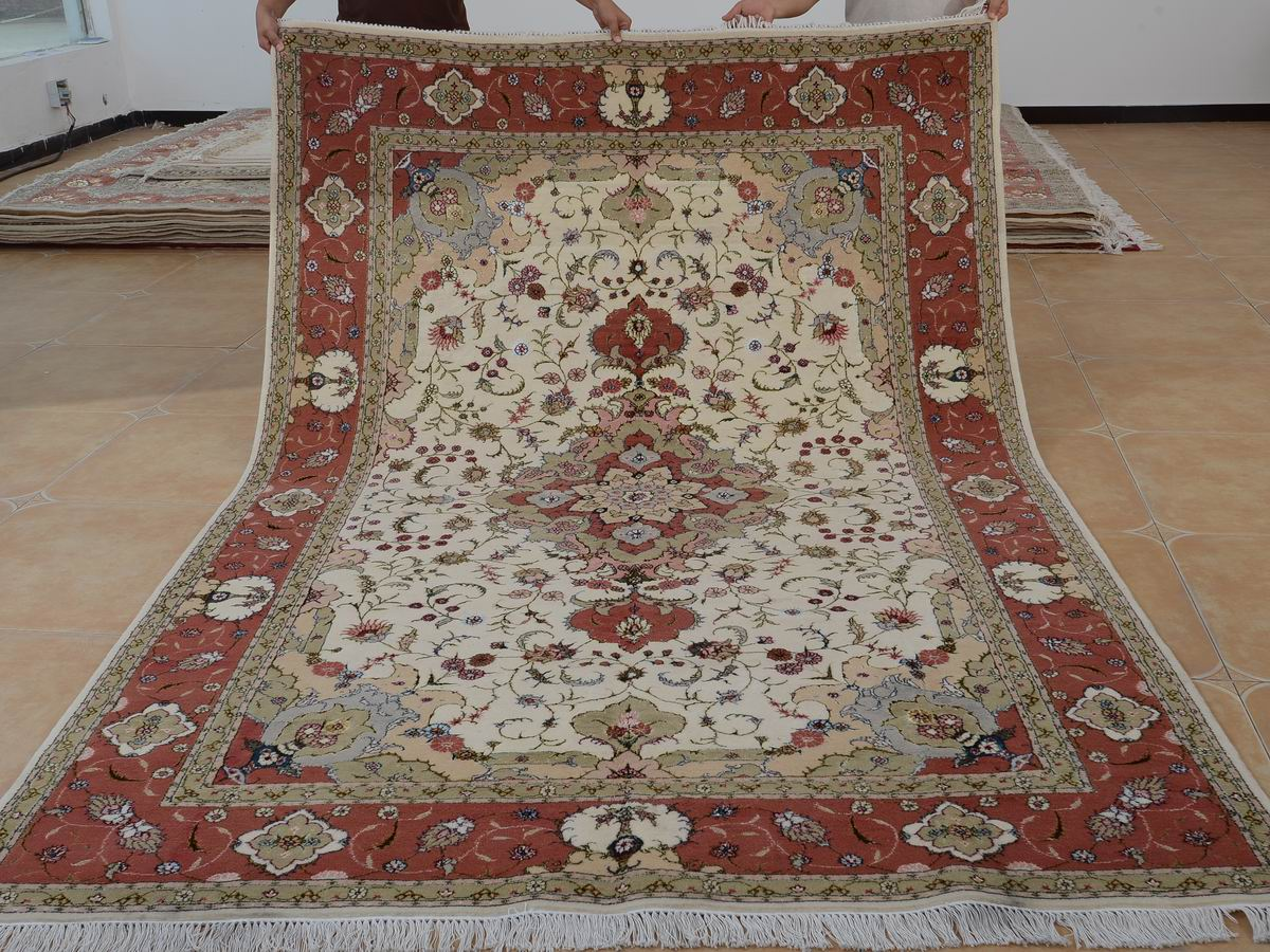 6′ x 9′ Hand-knotted Brand New Wool and Silk Sino-Persian Tabriz Oriental Area Rug 12980728