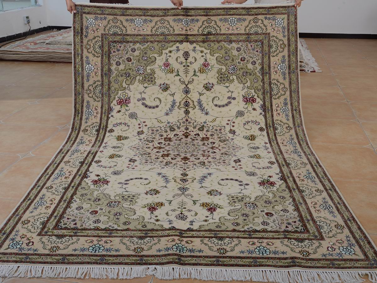 6′ x 9′ Hand-knotted Brand New Wool and Silk Sino-Persian Tabriz Oriental Area Rug 12980729