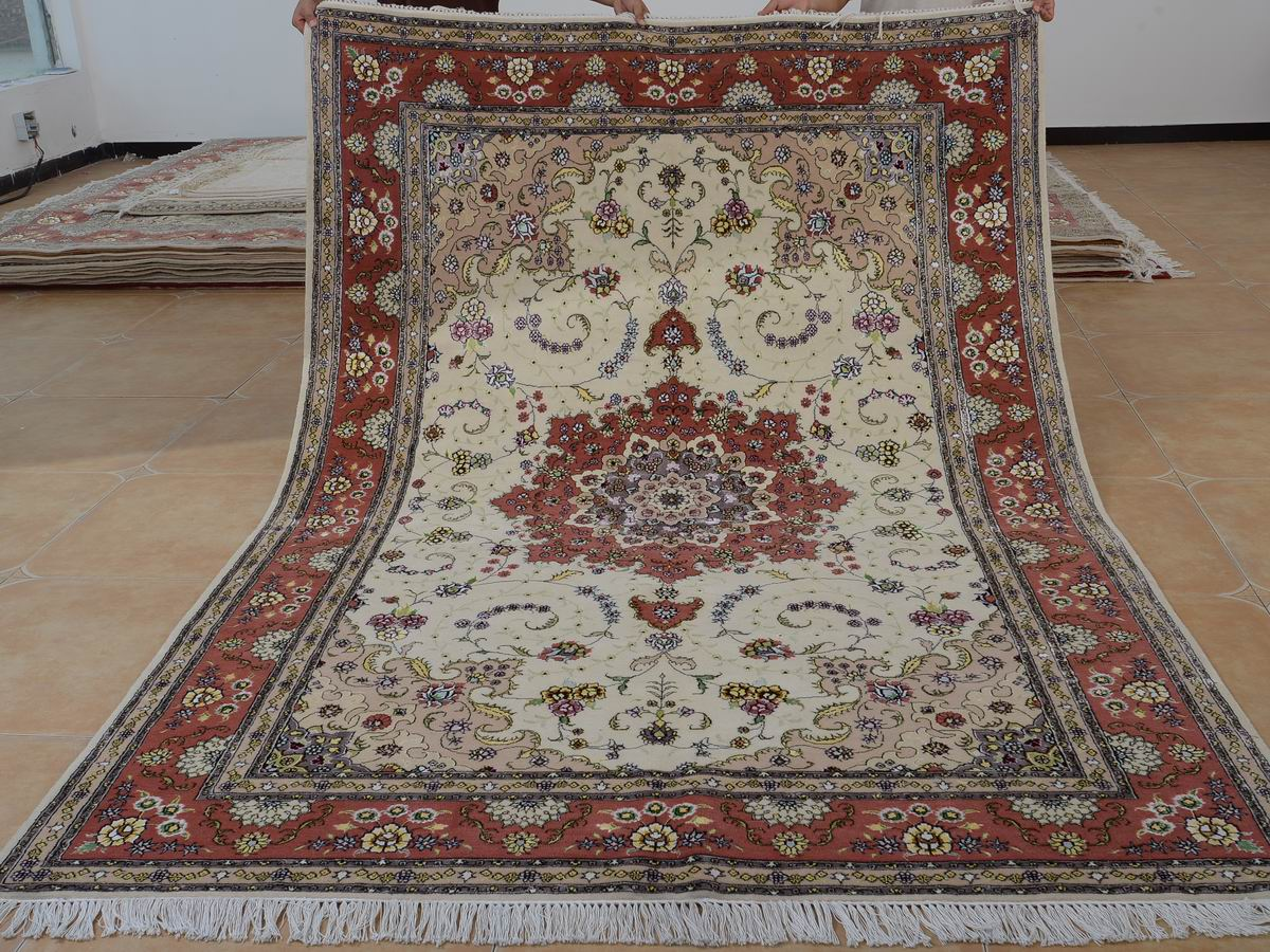 6′ x 9′ Hand-knotted Brand New Wool and Silk Sino-Persian Tabriz Oriental Area Rug 12980730
