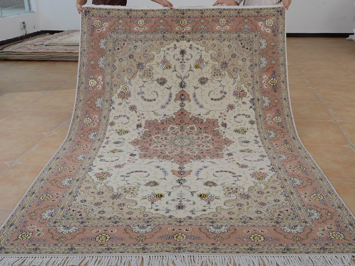 6′ x 9′ Hand-knotted Brand New Wool and Silk Sino-Persian Tabriz Oriental Area Rug 12980731