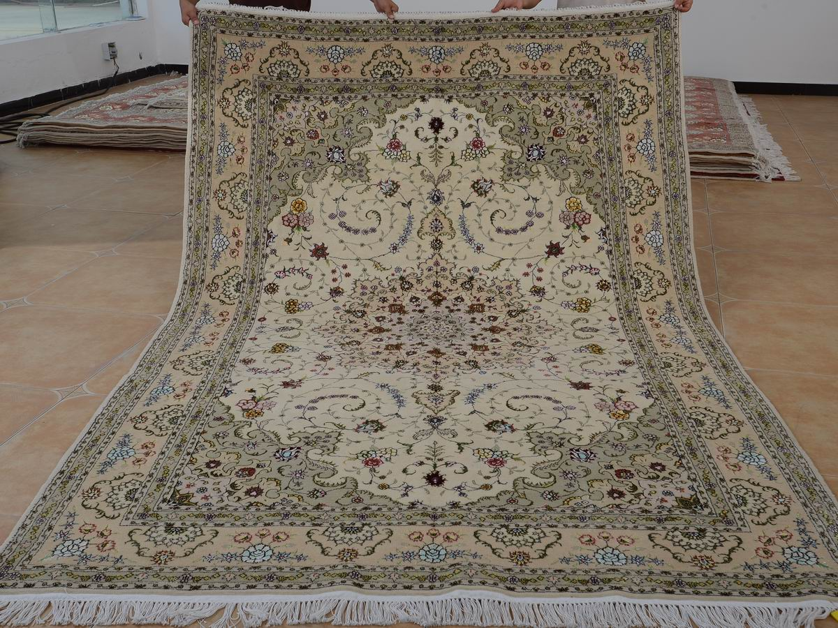 6′ x 9′ Hand-knotted Brand New Wool and Silk Sino-Persian Tabriz Oriental Area Rug 12980732
