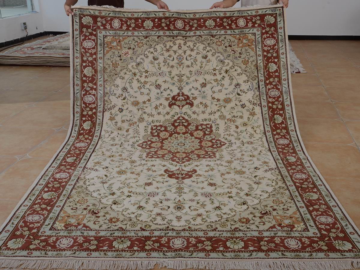 6′ x 9′ Hand-knotted Brand New Wool and Silk Sino-Persian Tabriz Oriental Area Rug 12980733