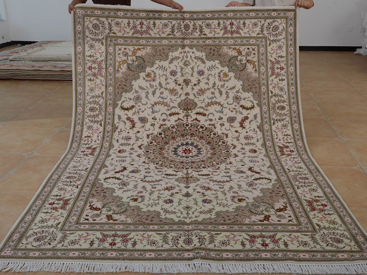 6′ x 9′ Hand-knotted Brand New Wool and Silk Sino-Persian Tabriz Oriental Area Rug 12980734