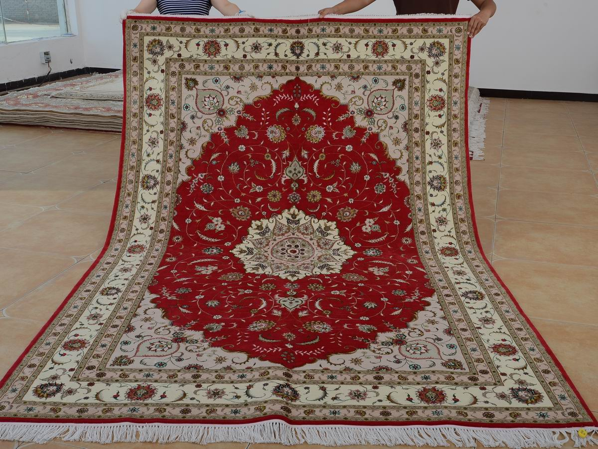 6′ x 9′ Hand-knotted Brand New Wool and Silk Sino-Persian Tabriz Oriental Area Rug 12980736
