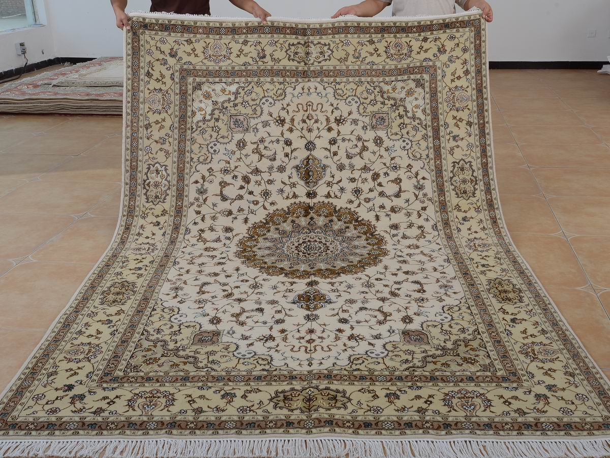 6′ x 9′ Hand-knotted Brand New Wool and Silk Sino-Persian Tabriz Oriental Area Rug 12980737