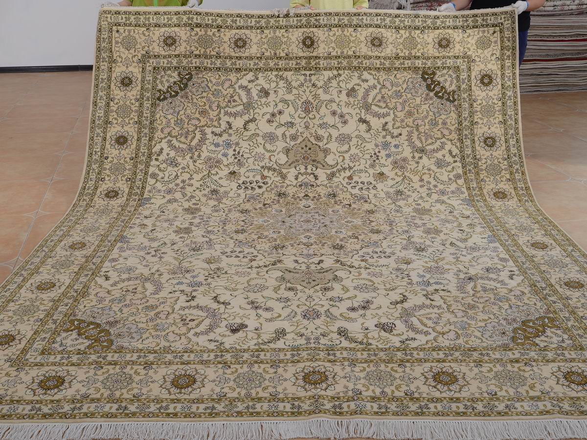 8′ x 10′ Hand-knotted Brand New Wool and Silk Sino-Persian Tabriz Oriental Area Rug 12980582