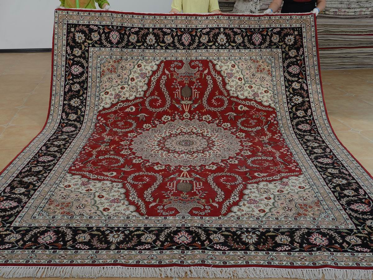 8′ x 10′ Hand-knotted Brand New Wool and Silk Sino-Persian Tabriz Oriental Area Rug 12980583