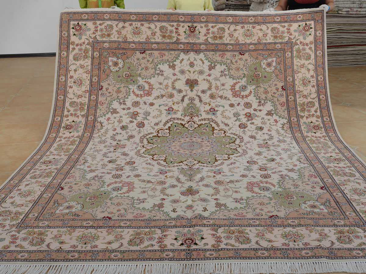8′ x 10′ Hand-knotted Brand New Wool and Silk Sino-Persian Tabriz Oriental Area Rug 12980585