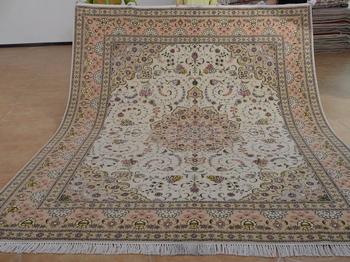 8′ x 10′ Hand-knotted Brand New Wool and Silk Sino-Persian Tabriz Oriental Area Rug 12980591