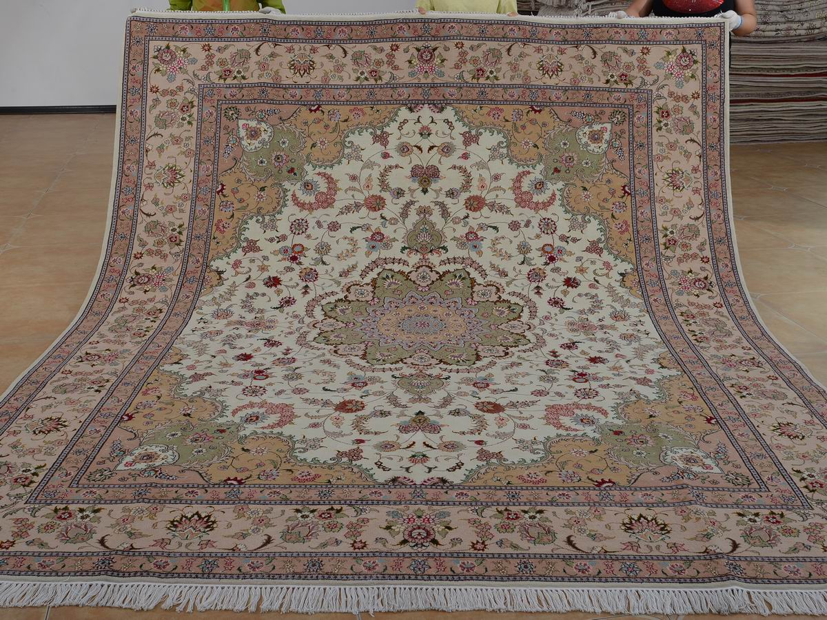 8′ x 10′ Hand-knotted Brand New Wool and Silk Sino-Persian Tabriz Oriental Area Rug 12980605