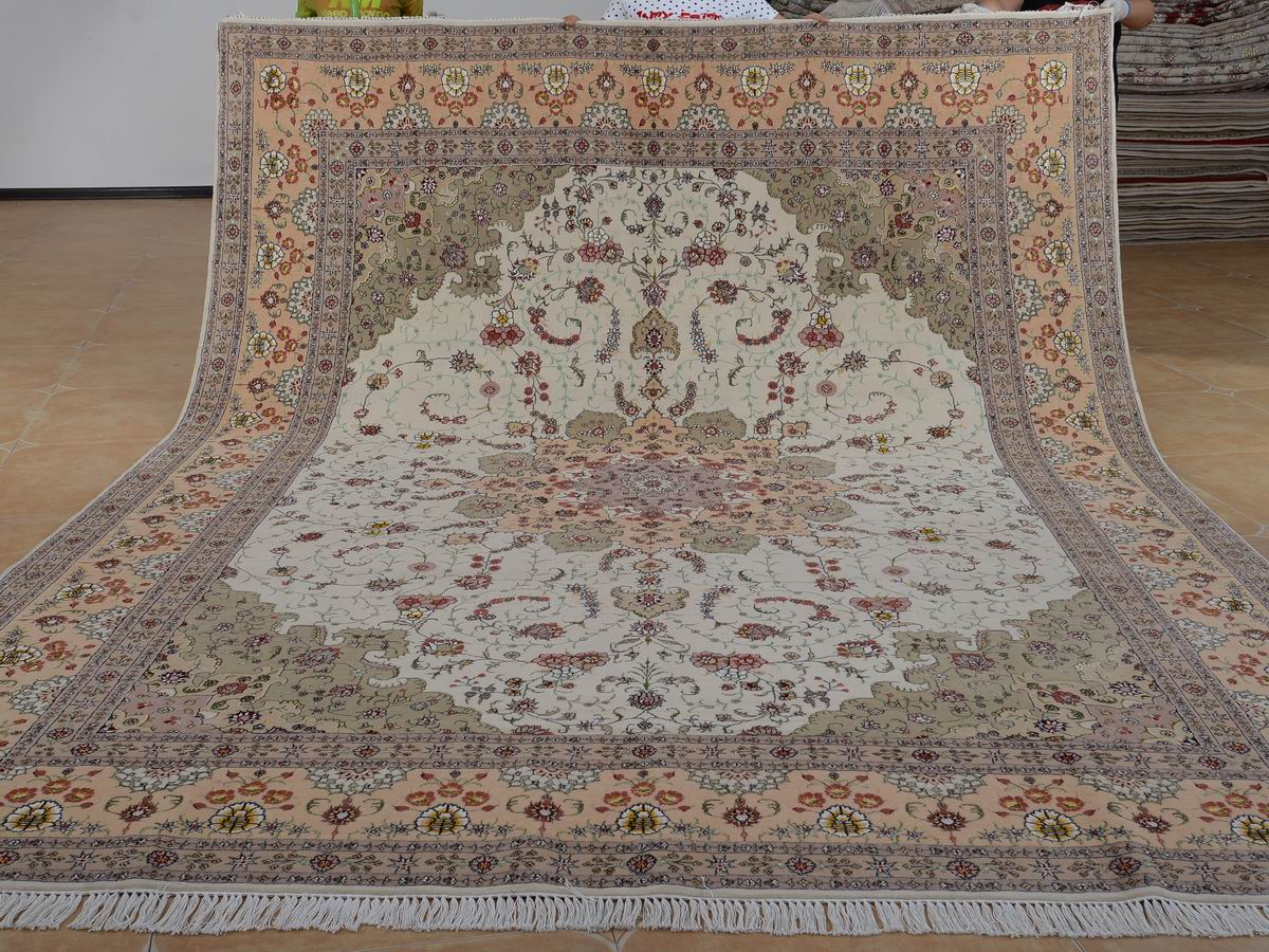 9′ x 12′ Hand-knotted Brand New Wool and Silk Sino-Persian Tabriz Oriental Area Rug 12980633