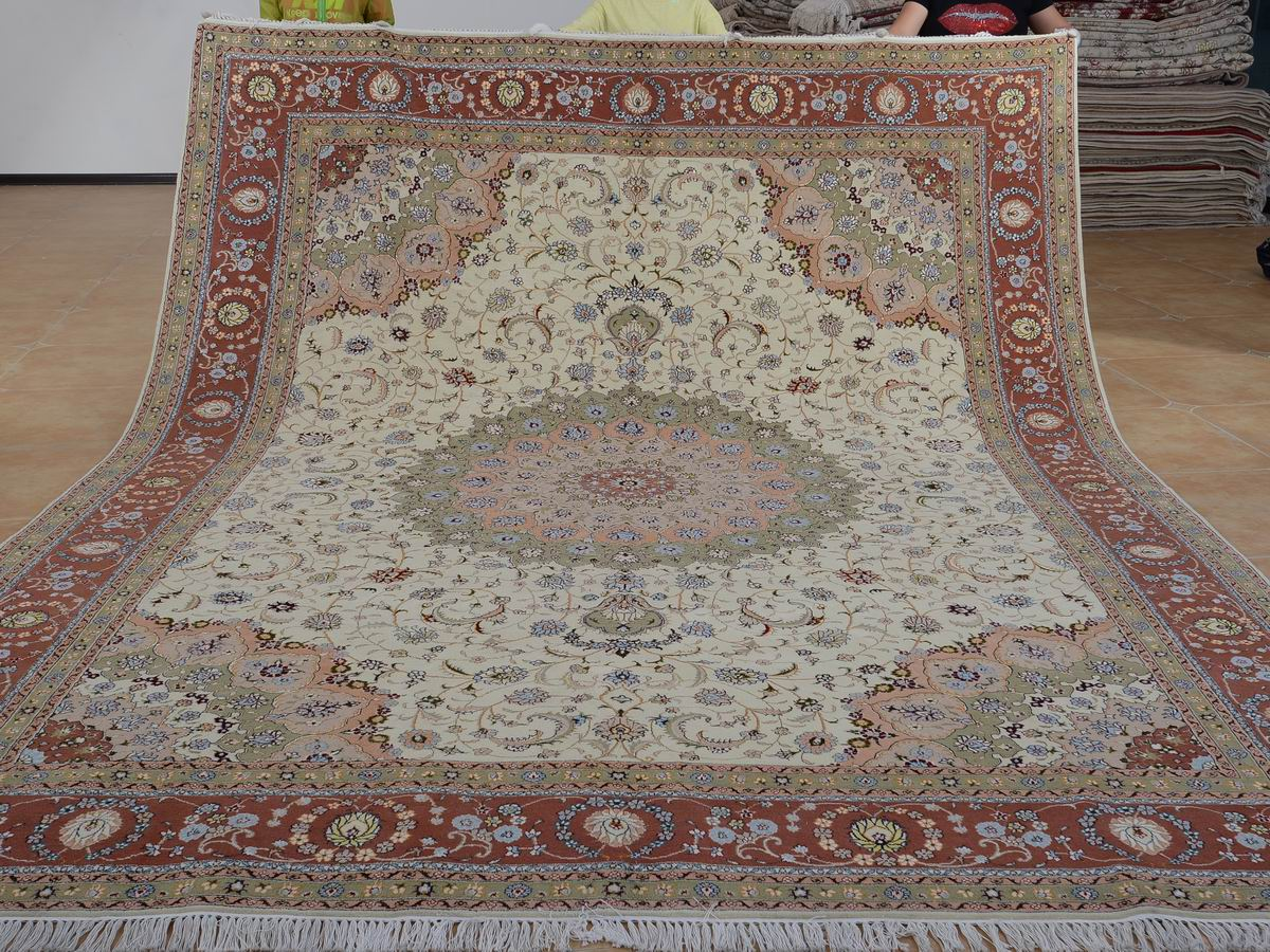 9′ x 12′ Hand-knotted Brand New Wool and Silk Sino-Persian Tabriz Oriental Area Rug 12980647