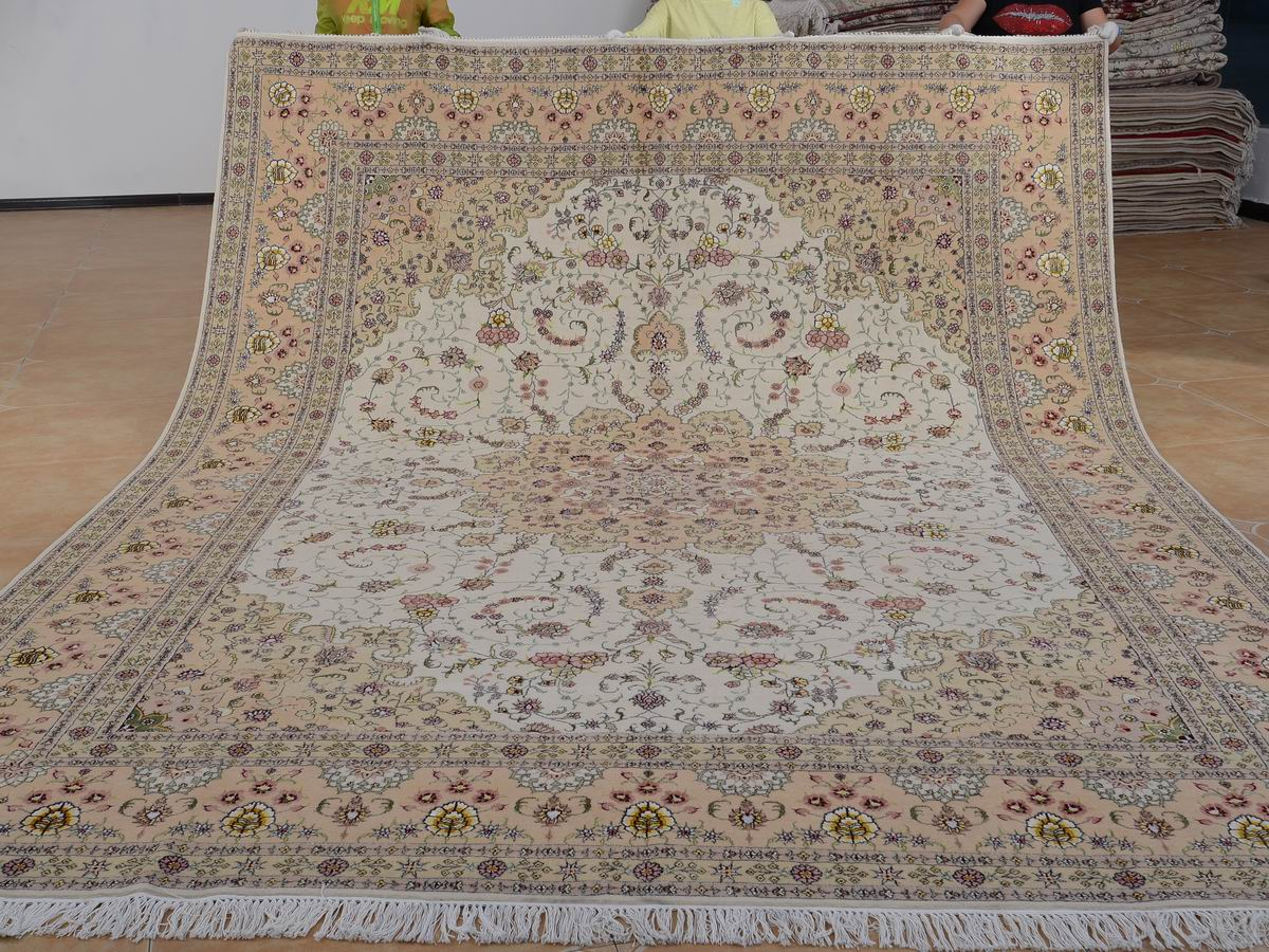 9′ x 12′ Hand-knotted Brand New Wool and Silk Sino-Persian Tabriz Oriental Area Rug 12980648