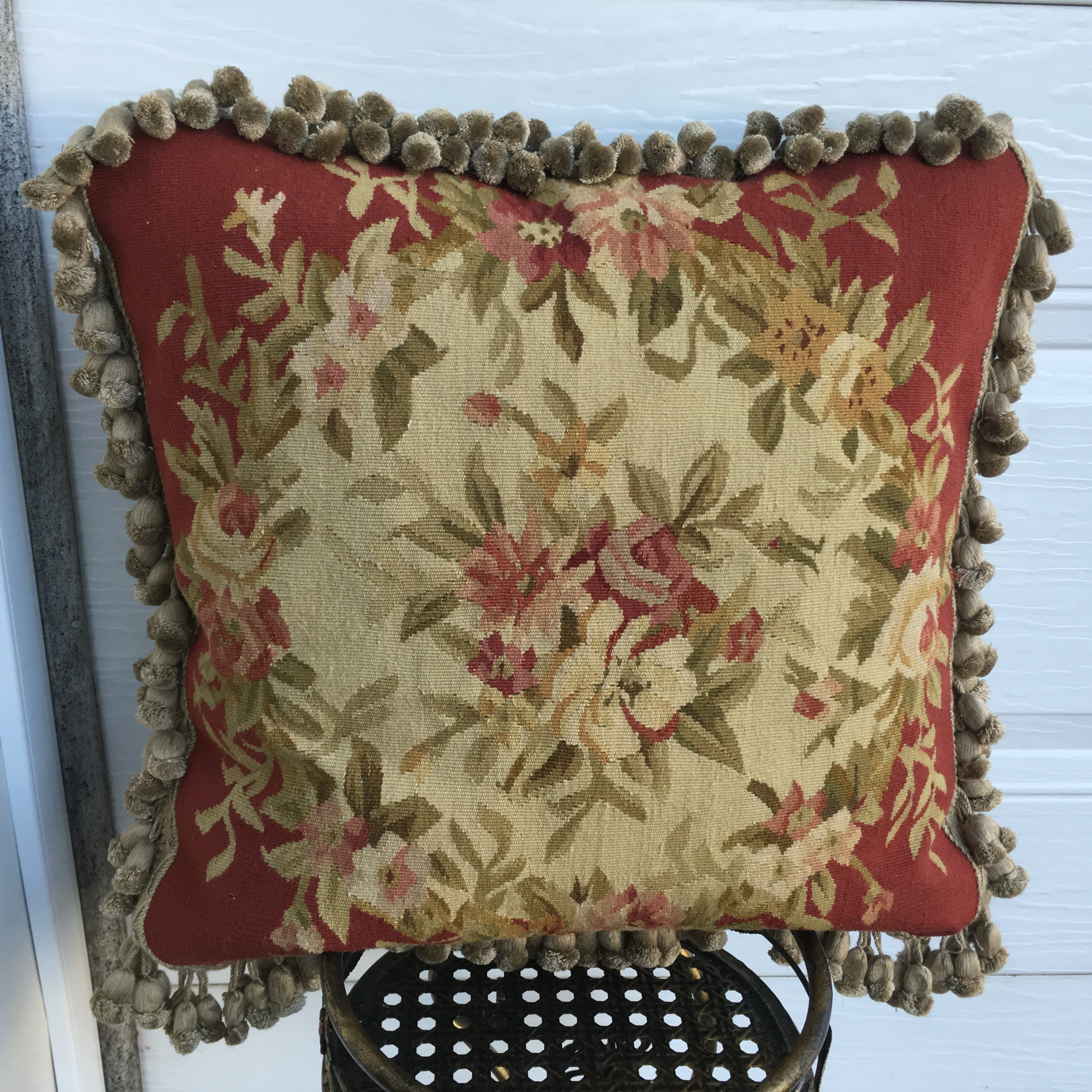 """18"""" x 18"""" Handmade French Gobelins Tapestry Weave Wool Aubusson Cushion Cover Pillow Case 12980777"""
