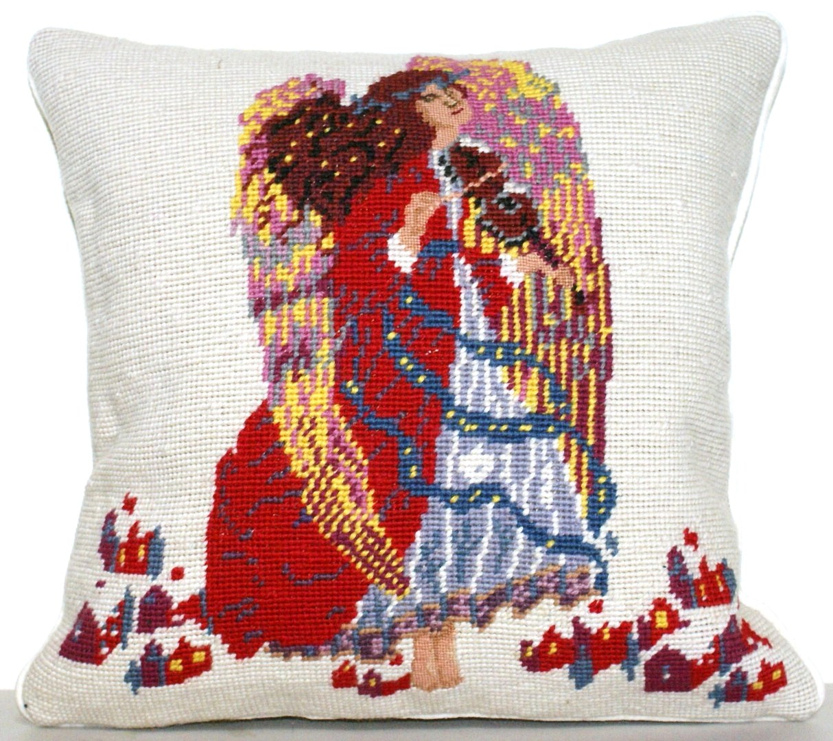 14″ x 14″ Handmade Wool Needlepoint Petit Point Angel Cushion Cover Pillow Case 12980568