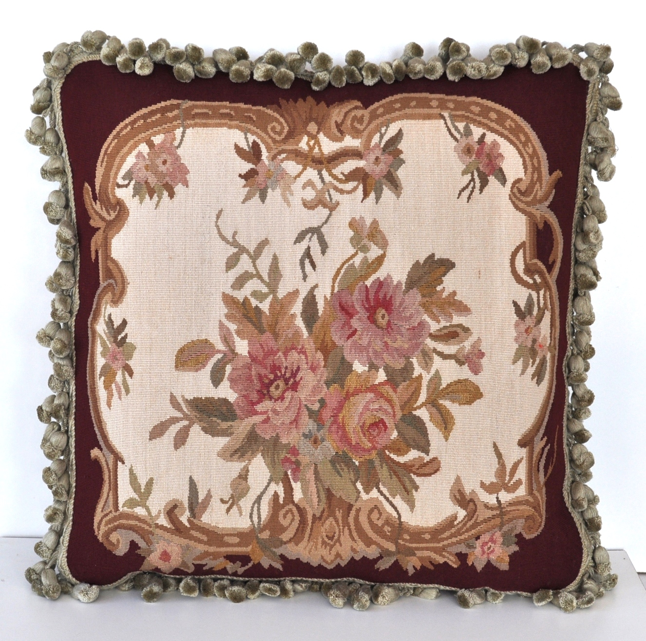 18 x 18 Handmade French Gobelins Tapestry Weave Wool Aubusson Cushion Cover Pillow Case 12980779