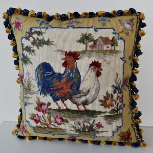 "16"" x 16"" Handmade Wool Needlepoint Rooster Cushion Cover Pillow Case 12980785"