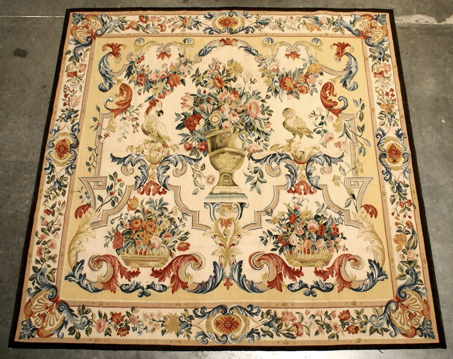 6'1″W x 6'1″H Hand-woven French Gobelins Weave Wool Aubusson Tapestry Wall Hanging 12980781